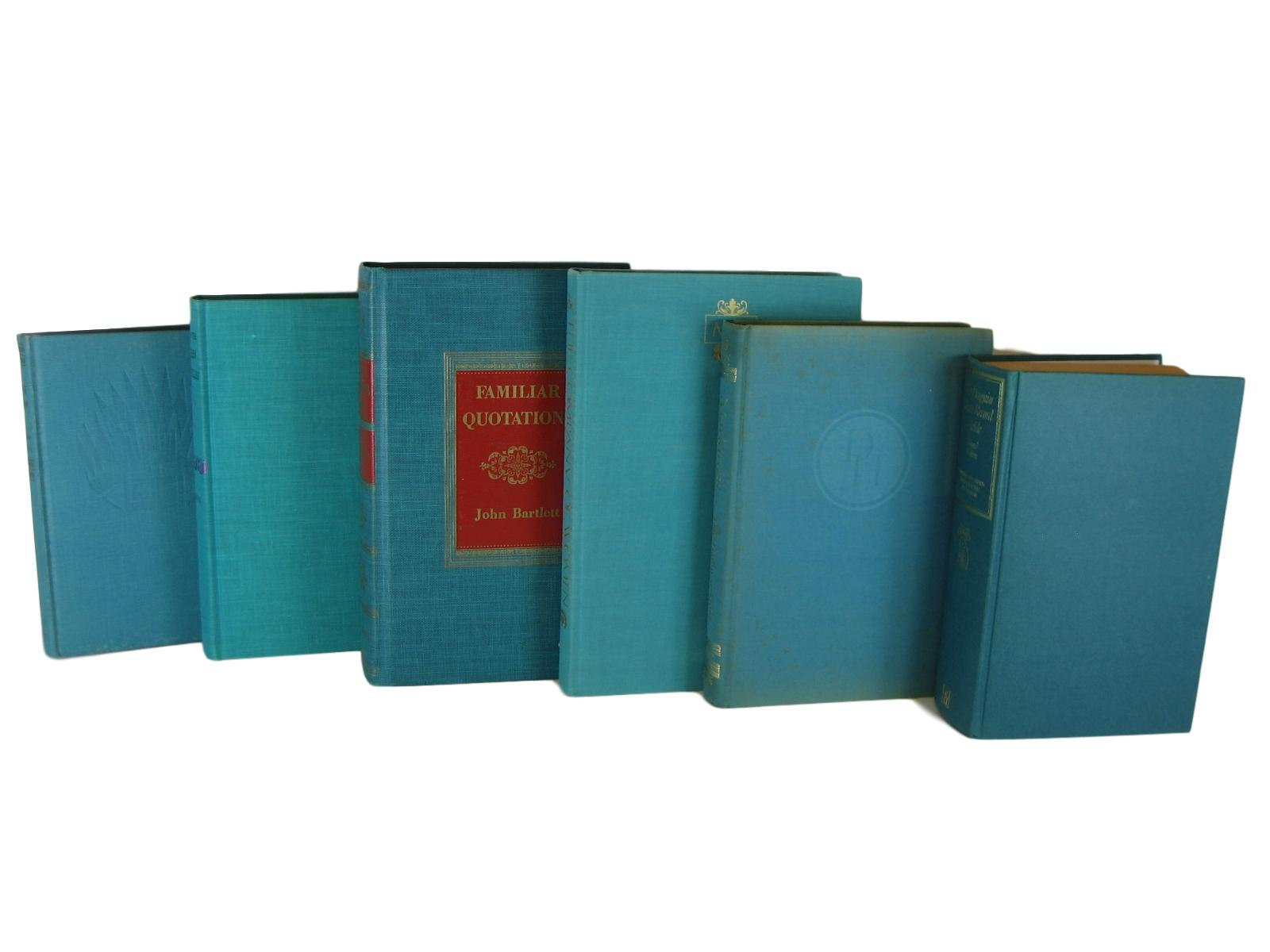 Green-Blue Vintage Books for Bookshelf Decor, S/6, [decorative_books], Decades of Vintage