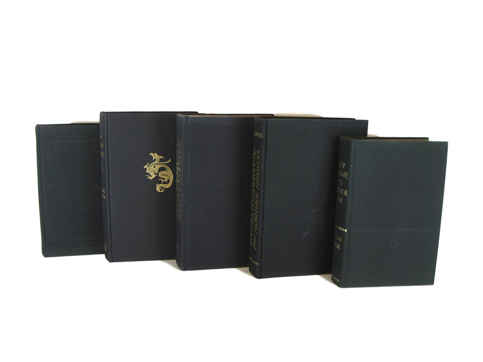 Black Vintage Books for Book Decor and Display, S/5 - Decades of Vintage