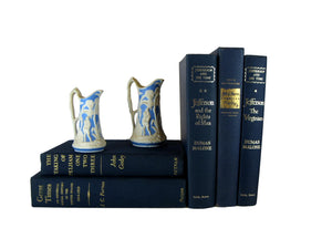 Blue Decorative Book Set Curated with  Vintage Books, S/5 - Decades of Vintage