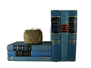 Blue Decorative Book Decor with Blue Vintage Books, S/6 - Decades of Vintage