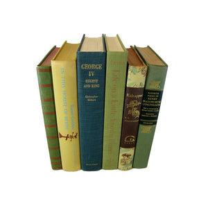 Green Decorative  Book Stack for  Decor, S/6 - Decades of Vintage