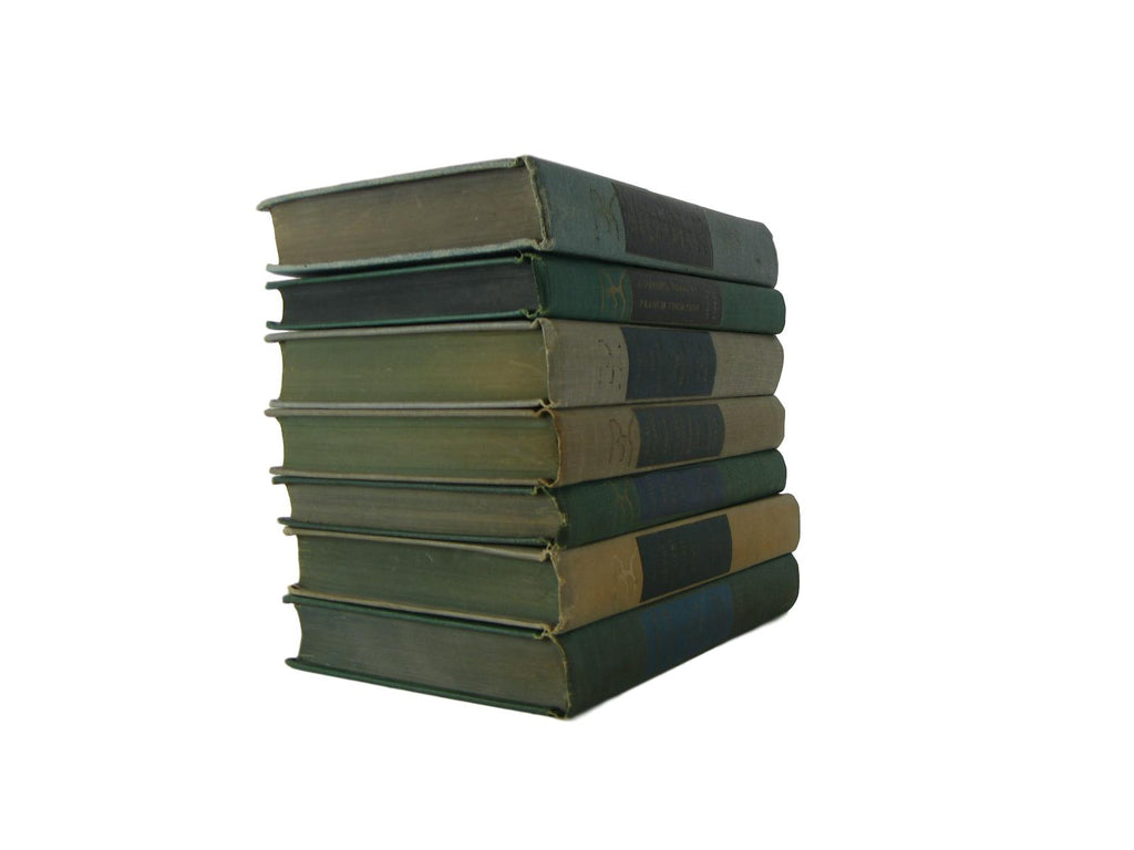 Green Taupe Modern Library Classic Collection, S/7 - Decades of Vintage