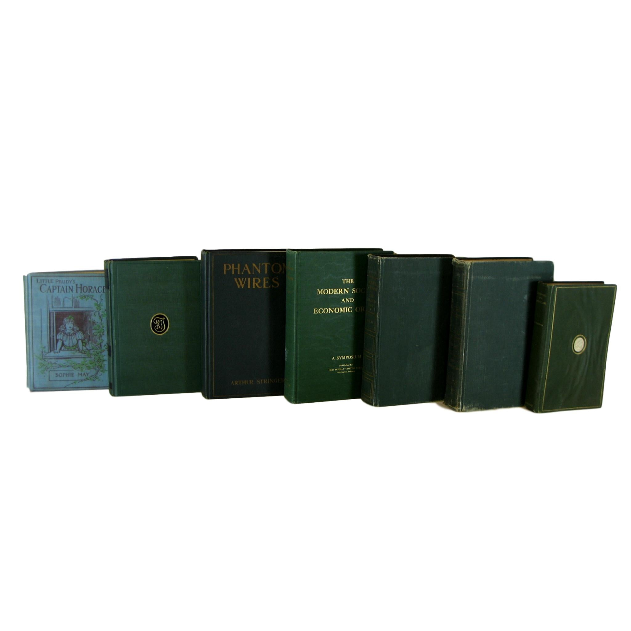 Distressed Green Decorative  Books for Display, S/7 - Decades of Vintage