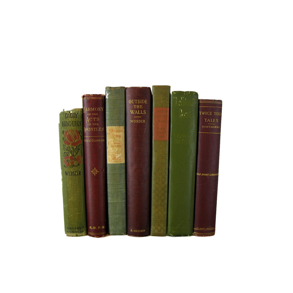 Green and Brown  Decorative Book Collection for  Decor , S/7 - Decades of Vintage