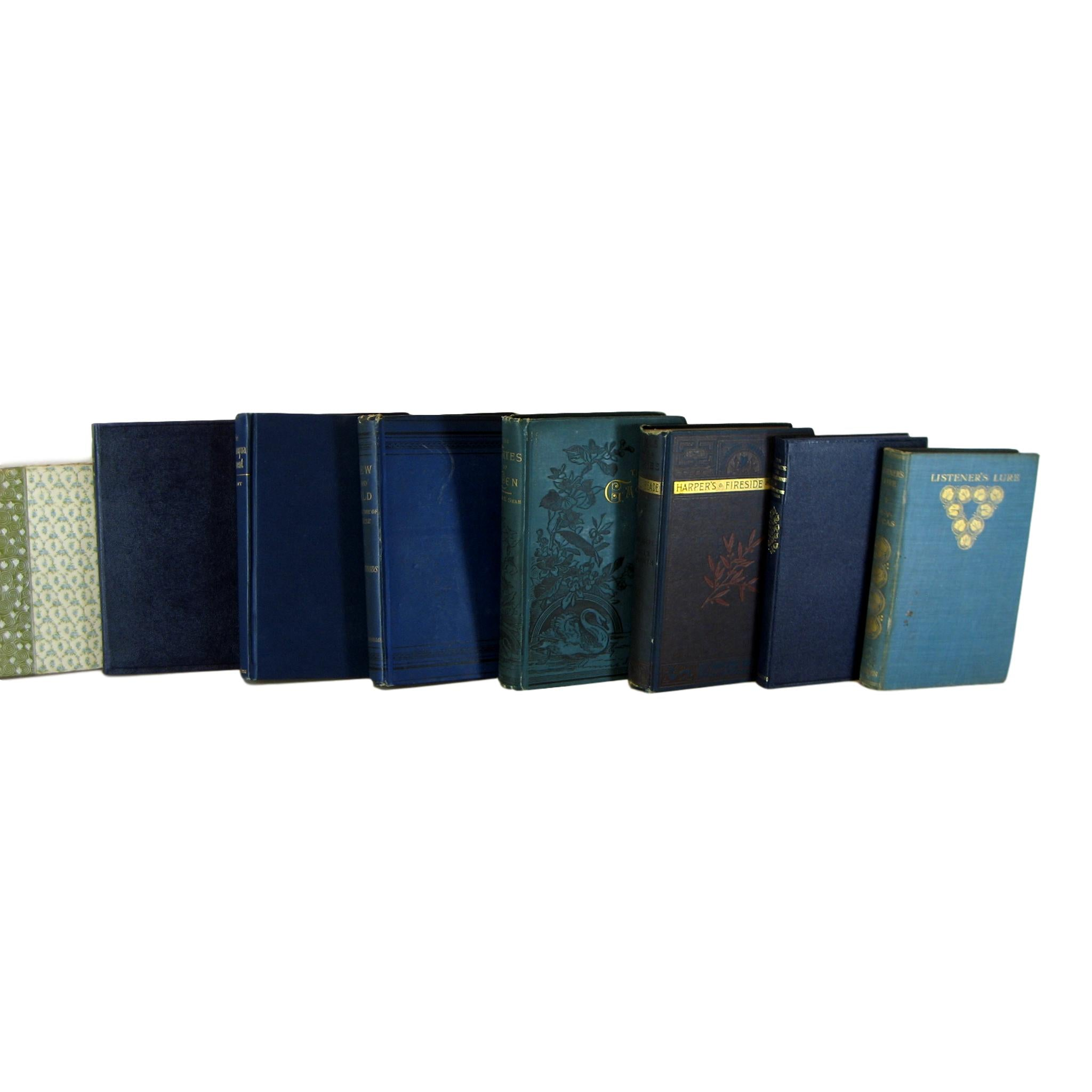 Blue and Green Decorative Books by Color for Bookshelf Decor, S/8 - Decades of Vintage