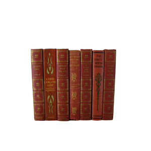 Red Decorative  Book Set for Decor , S/7
