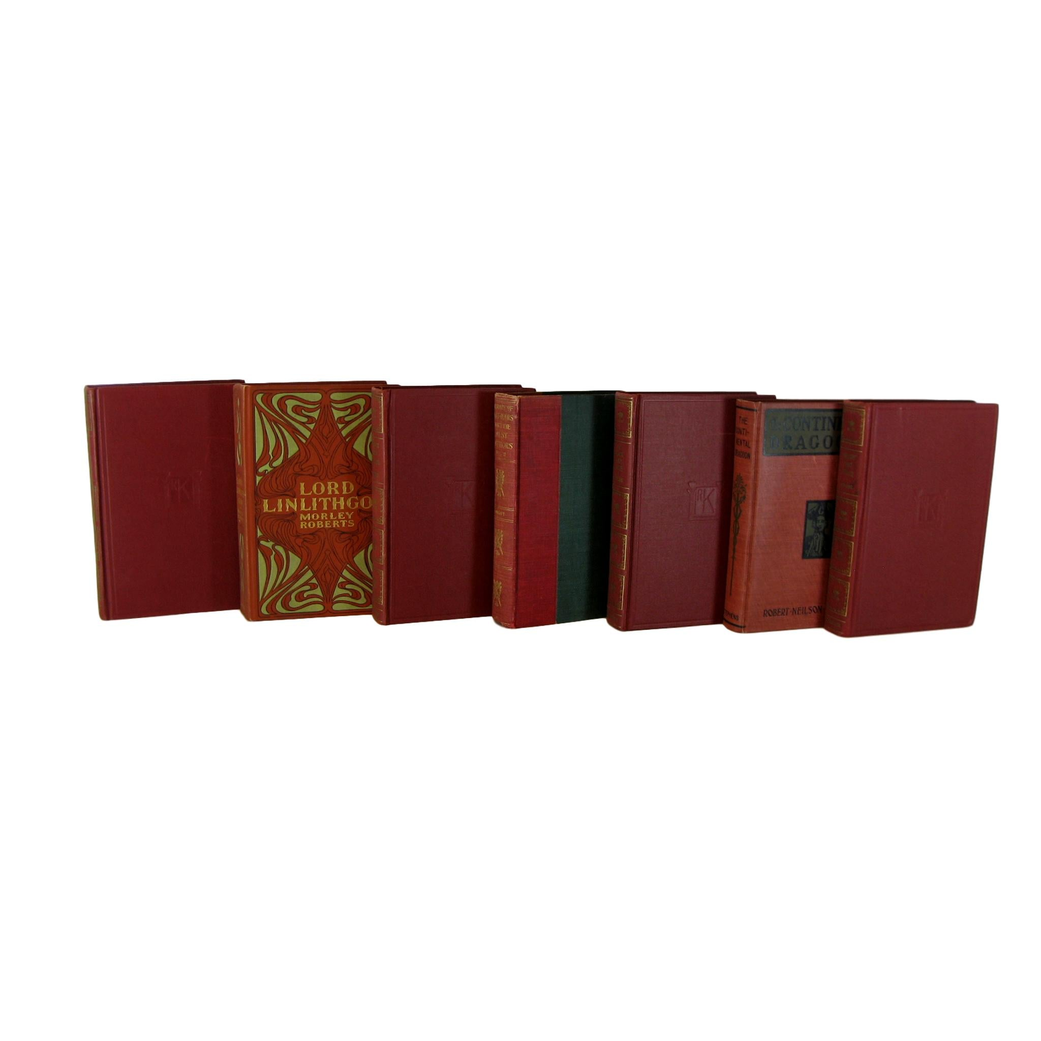 Red Decorative  Book Set for Decor , S/7 - Decades of Vintage