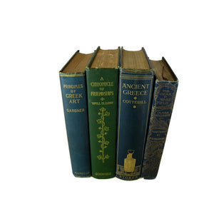 Decorative Books in Blue and Green for Rustic Decor, S/4 - Decades of Vintage