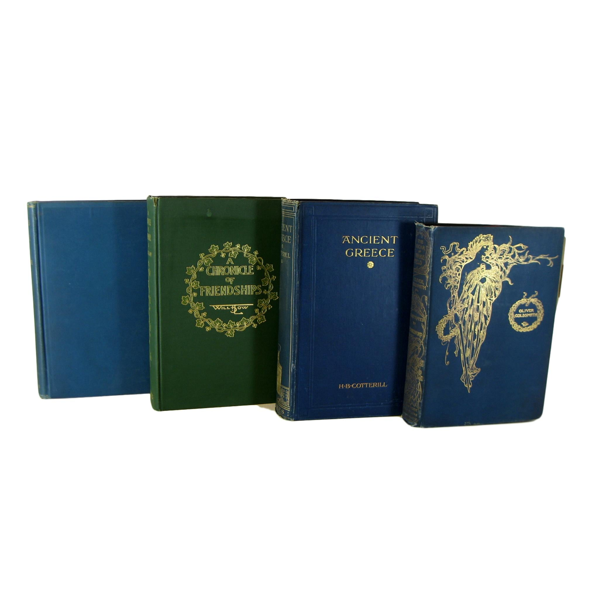 Blue Decorative  Books for Bookshelf Design, S/5 - Decades of Vintage