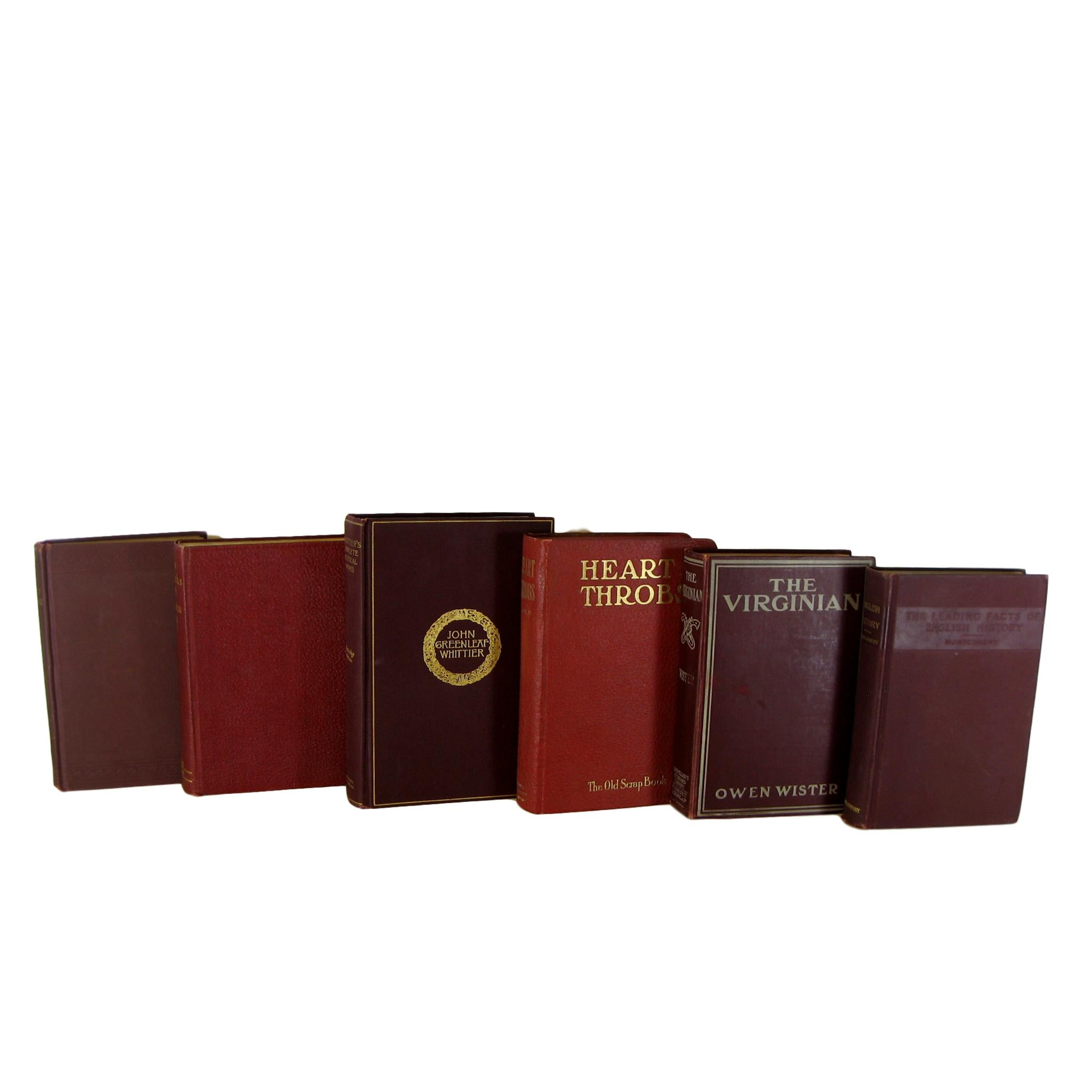 Decorative Book Set in Shades of Deep Reds and Burgundy, S/6 - Decades of Vintage