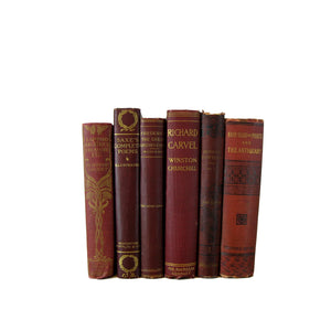 Antique  Decorative  Books in Red Burgundy Shades, S/6 - Decades of Vintage