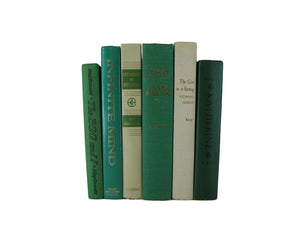 Green and White Vintage Book Set, S/6 - Decades of Vintage