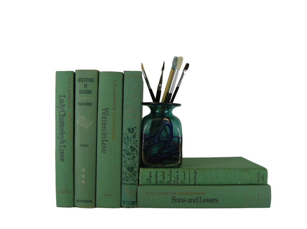 Green Decorative Books by Color for Bookshelf Decor, S/6 - Decades of Vintage
