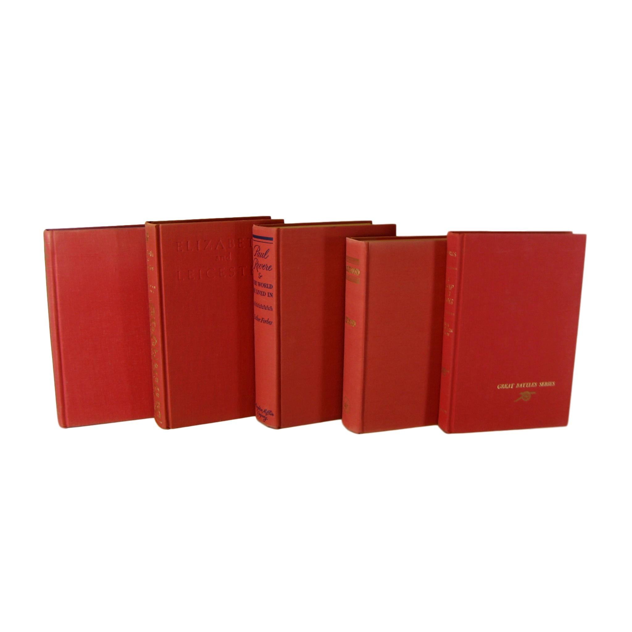 Red Decorative  Books, S/5 - Decades of Vintage