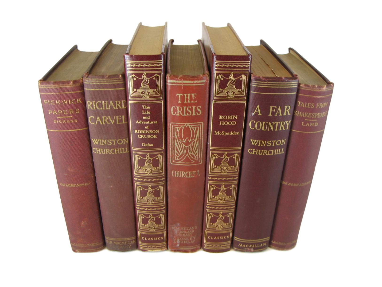 Dark Red Maroon Decorative  Book Set for Decor , S/7 - Decades of Vintage