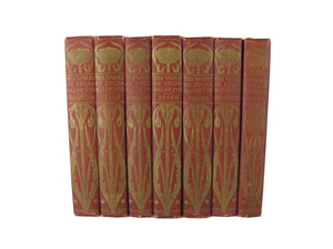 Antique Decorative Books for Display, Red Set of Books, S/7 - Decades of Vintage