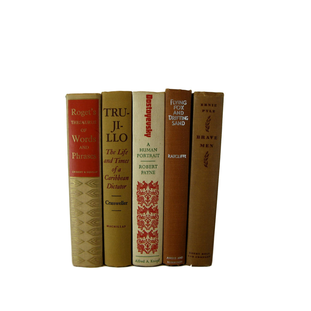 Brown and Tan Books for Farmhouse Book Decor, S/5 - Decades of Vintage