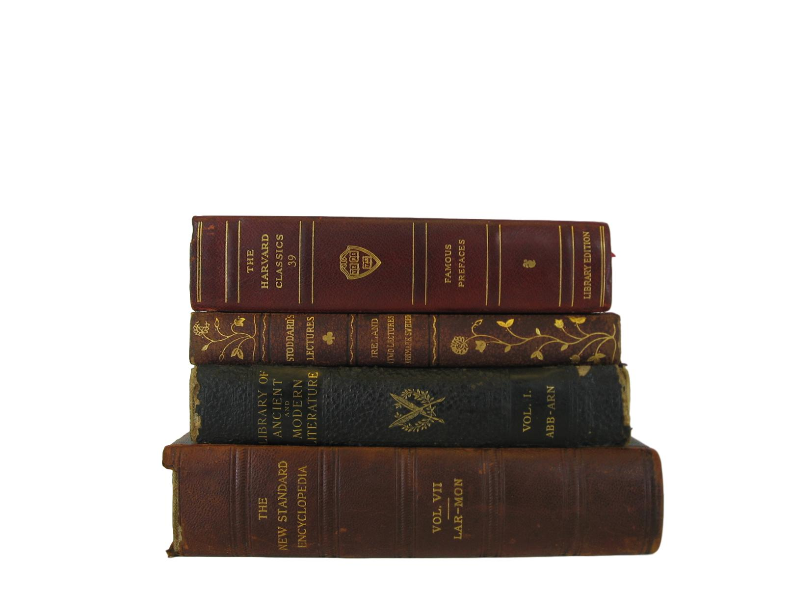 Antique Leather Bound Books, S/4