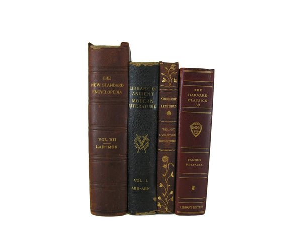 Brown Brick Decorative Vintage Book Set, S/6-vintage decorative books-Decades of Vintage