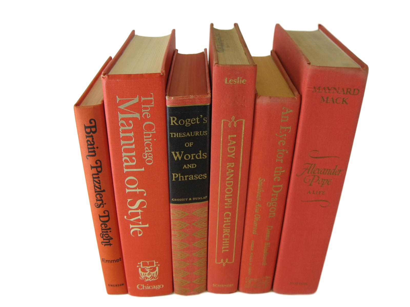 Orange Books for Decorating with Old Books, S/6 - Decades of Vintage