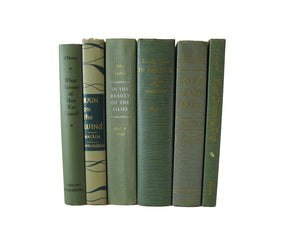 Green Modern Decorative Books Curated with Vintage Books, S/6 - Decades of Vintage