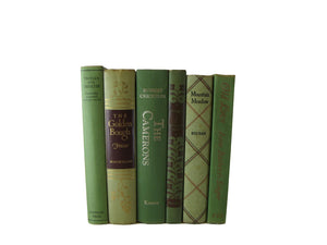 Green Vintage Old Books for Decorating , S/6 - Decades of Vintage