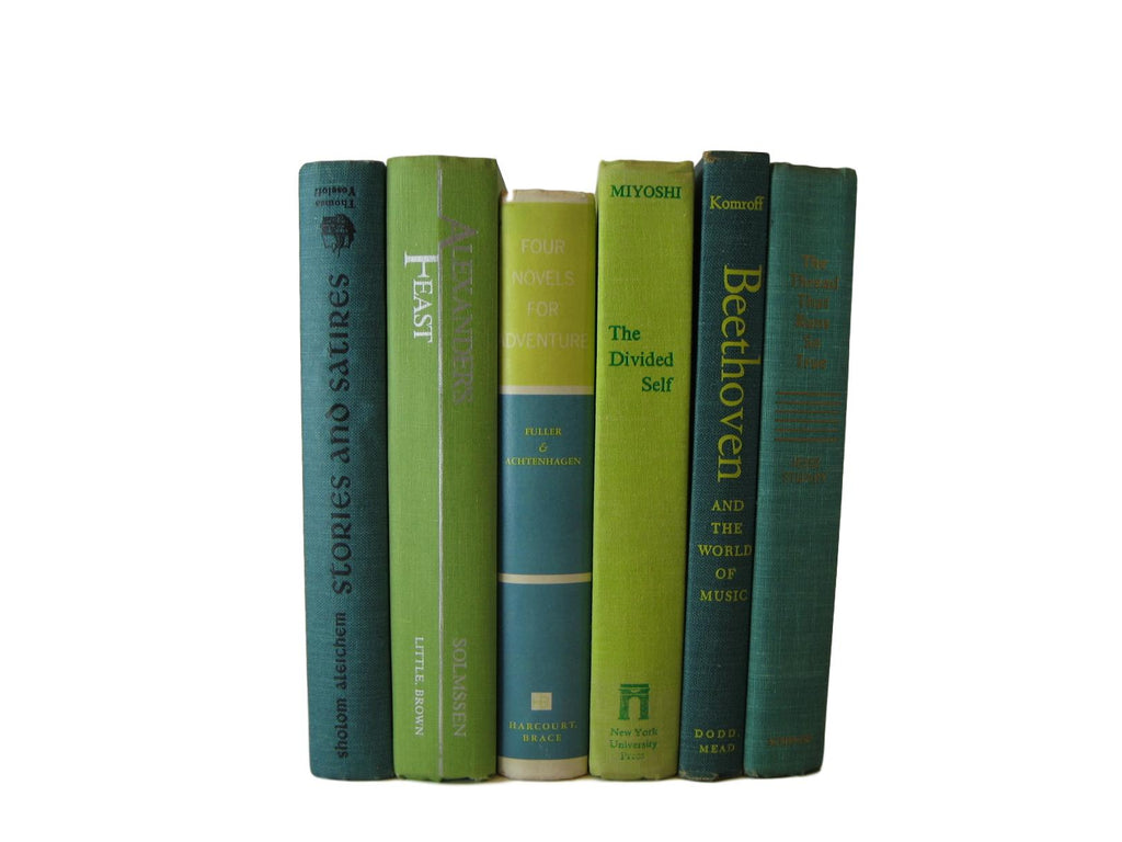 Green Old Books for Decorating Shelf Display , S/6 - Decades of Vintage