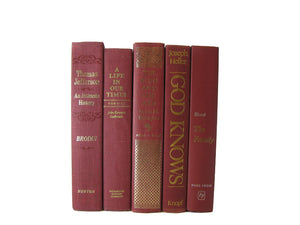 Red Vintage Books for Decoration and Home Decor , S/5 - Decades of Vintage