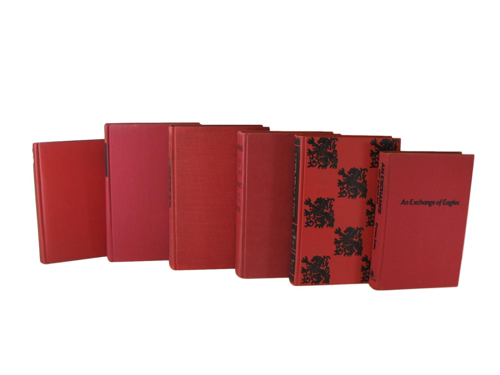 Red Decorative Book Set Perfect for Bookshelf Display, S/6 - Decades of Vintage
