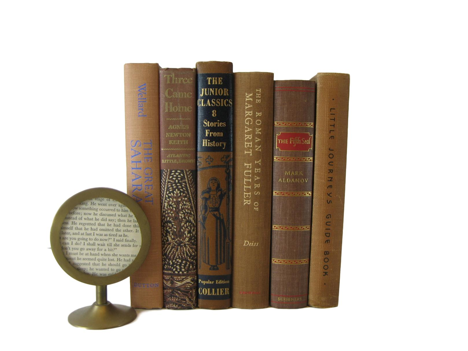 Brown Decorative Book Set Perfect For Bookshelf Design, S6