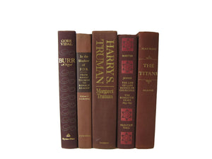 Brown Decorative Books for Decor, S/5 - Decades of Vintage