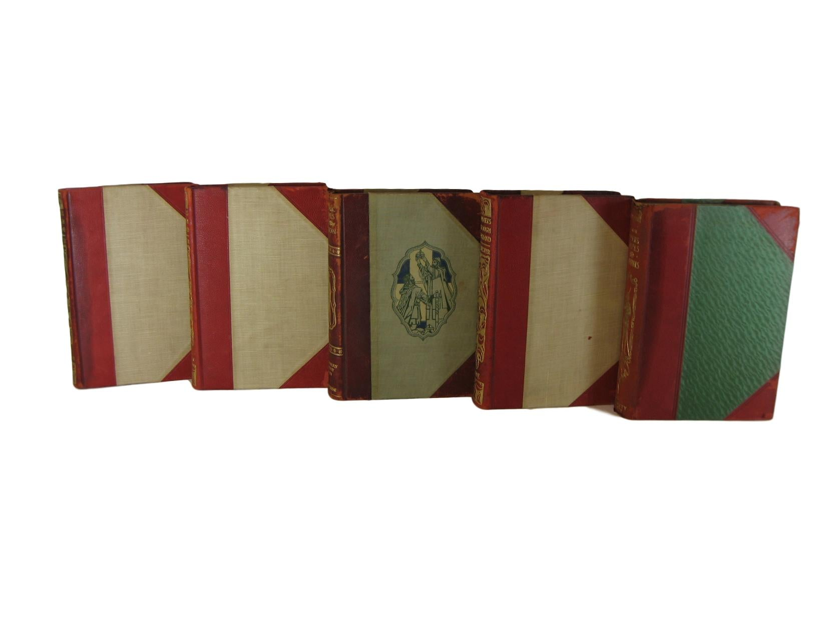 Leather Bound Antique Books, S/5 - Decades of Vintage