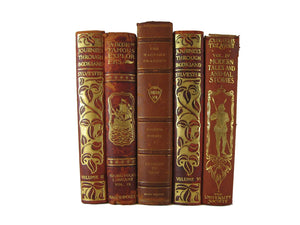 Decorative Book Stack, Leather Books, S/5 - Decades of Vintage
