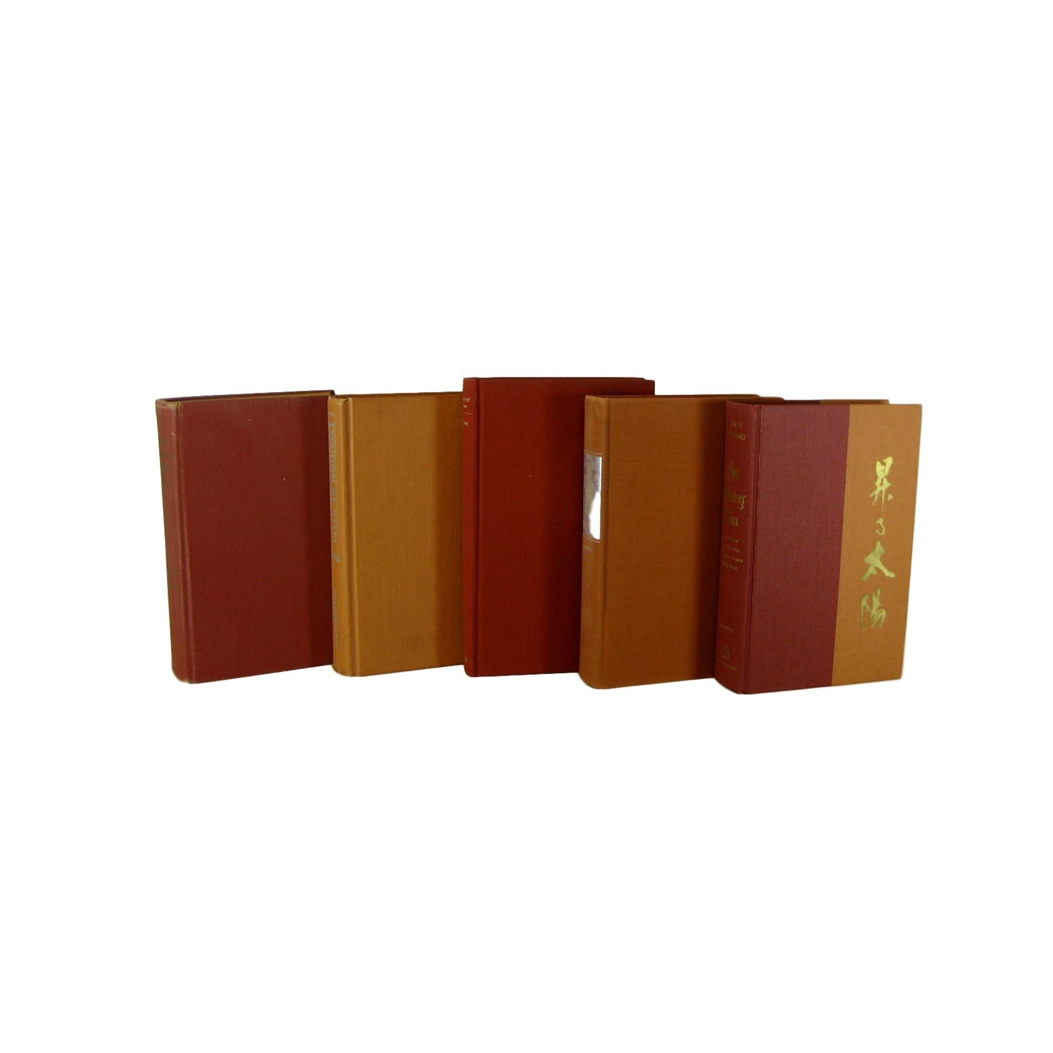 Earth-tone Orange Brick Decorative Vintage Books  for Decor, S/5 - Decades of Vintage