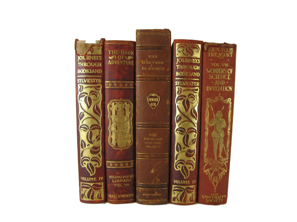 Leather Book Set for Shelf Decor, S/5 - Decades of Vintage