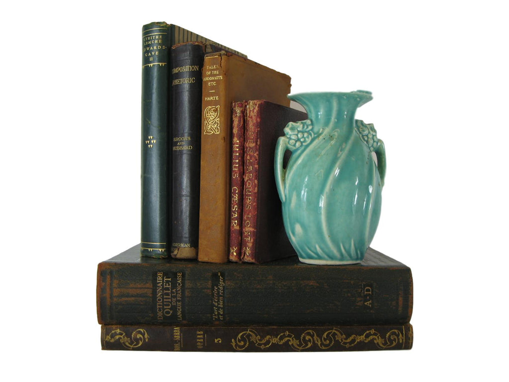 Vintage Leather Book Collection for Shelf Decor, S/7, [decorative_books], Decades of Vintage