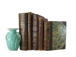 Antique Leather Book Set for Shelf Decor, S/5 - Decades of Vintage