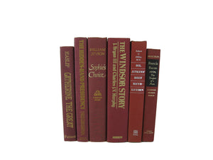 Dark Red Burgundy Decorative Books for Display, S/6 - Decades of Vintage