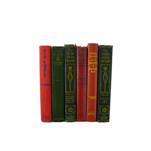 Decorative Book Stack in Green, Salmon, and Red, S/6 - Decades of Vintage