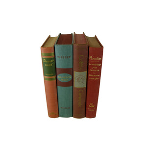 Blue Brown  Green  Decorative Set of Books, S/4 - Decades of Vintage