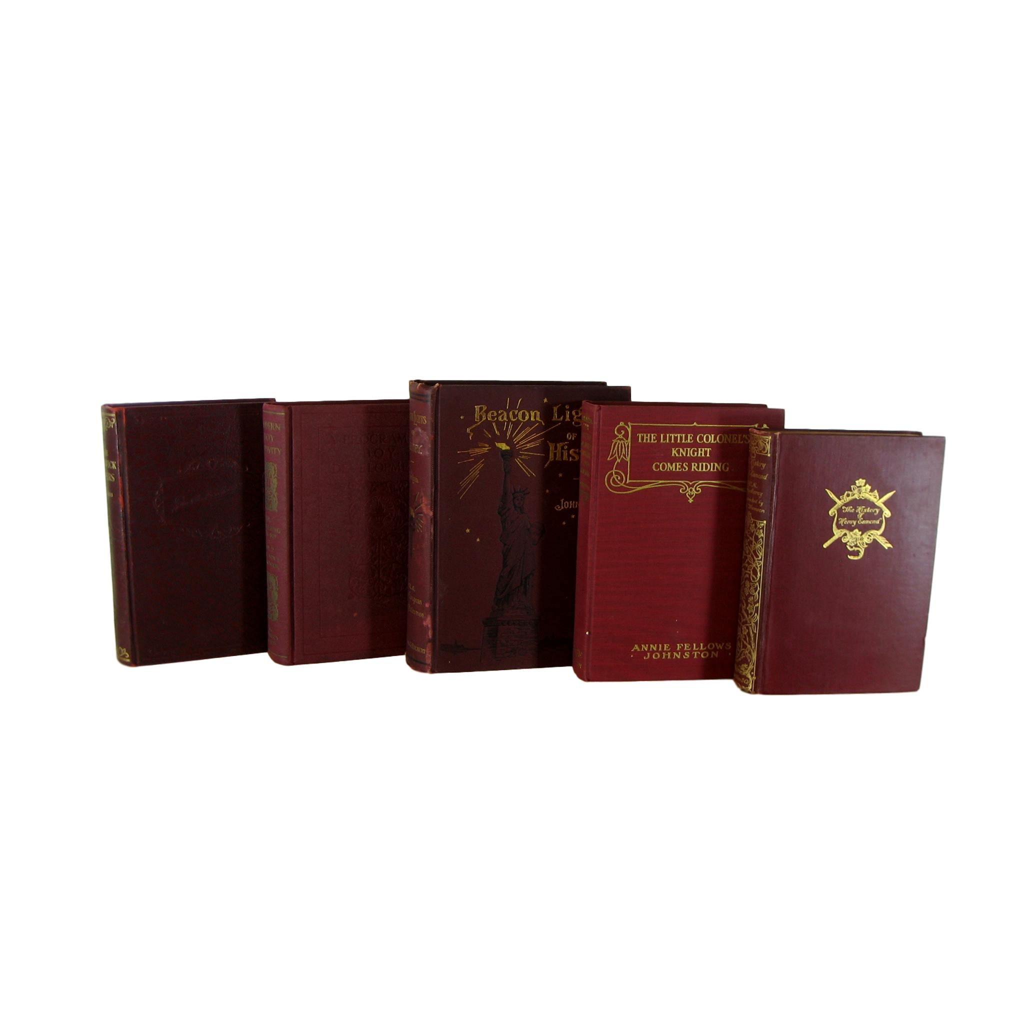 Dark Red Accent Old Book Set, S/5 - Decades of Vintage