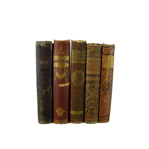 Brown Antique Books for Decorative Book Decor, S/5 - Decades of Vintage