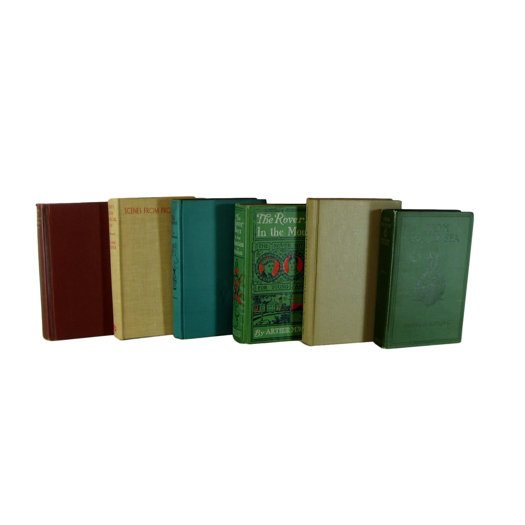 Earth-tone and Green Decorative Books  for  Decor , S/6 - Decades of Vintage