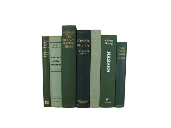 Green  Decorative Vintage Books, S/7 - Decades of Vintage