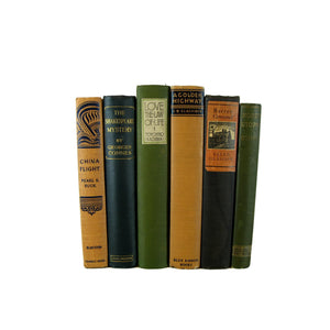 Terra Cotta, Green,  Earth-tone Old  Vintage  Books, S/6 - Decades of Vintage