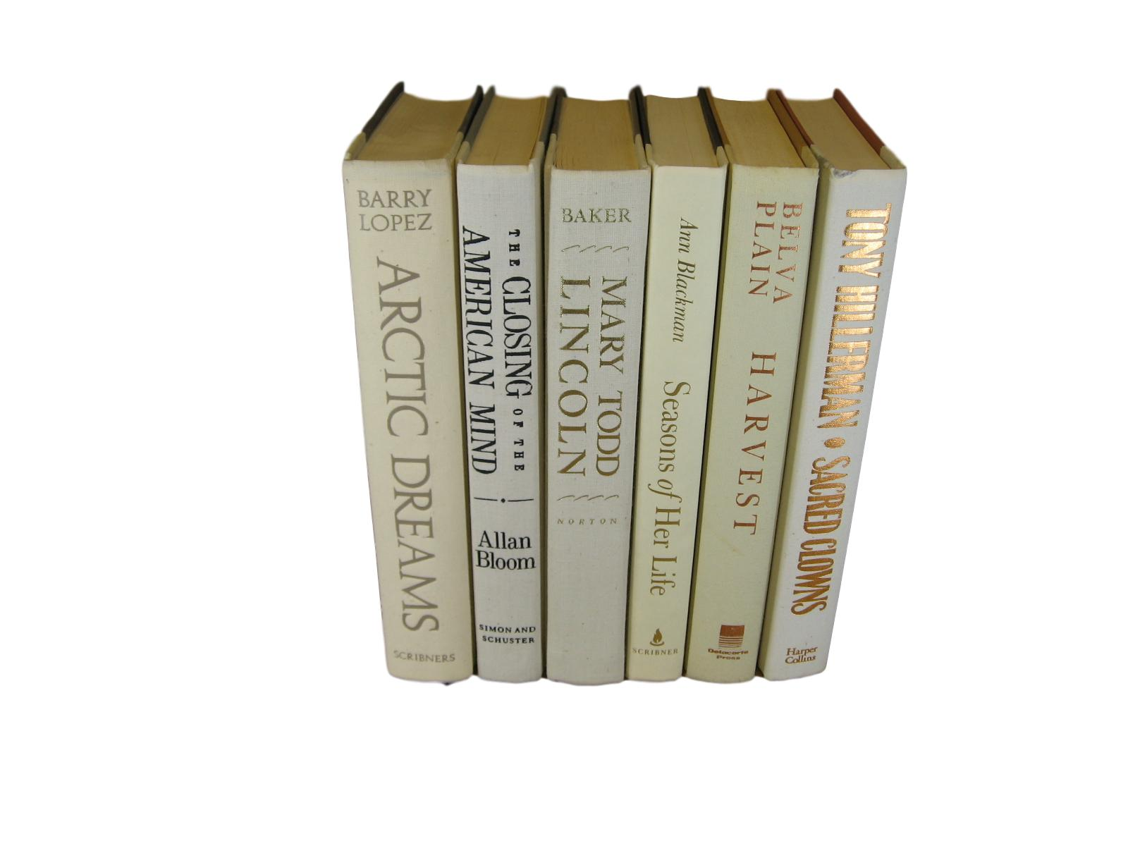 White Beige  Decorative Vintage Book Set, S/6 - Decades of Vintage