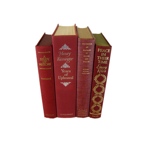 Dark Red Burgundy Decorative Books for Mantel Decor, S/4 - Decades of Vintage
