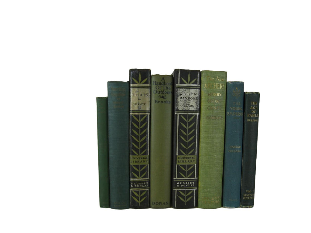 Green and Black Decorative Display of Books, S/8 - Decades of Vintage