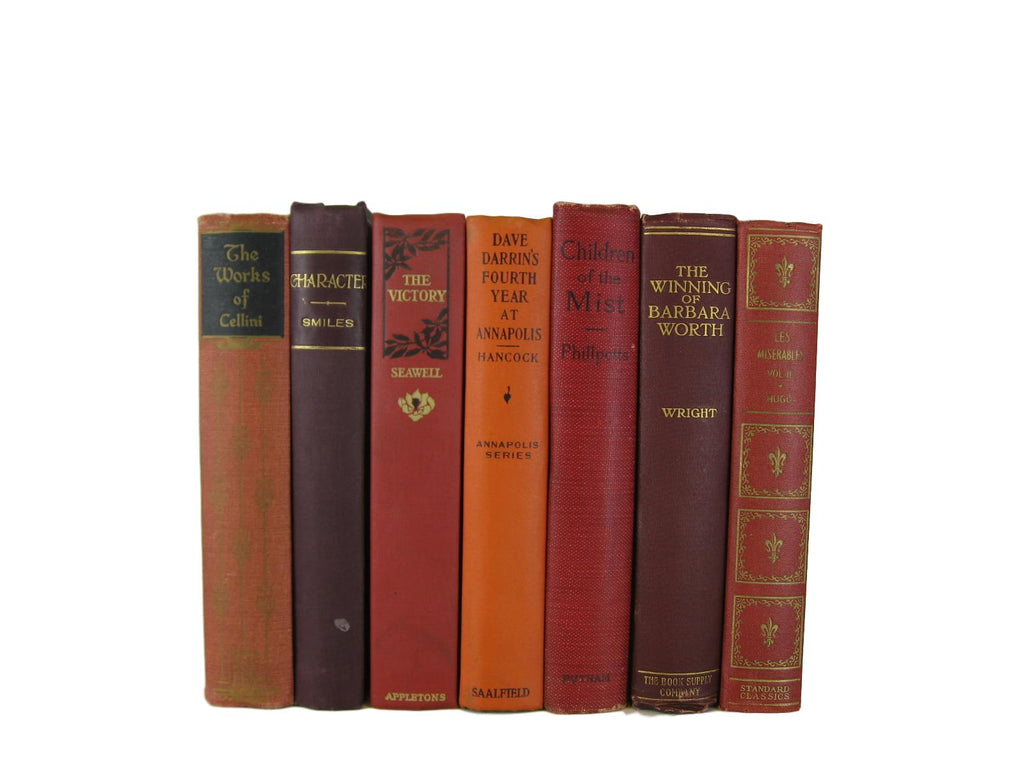Fall Decor Shades of  Decorative  Books for Display, S/7 - Decades of Vintage