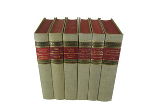 Old Vintage Books for Bookshelf Decor  in Red and Neutral Tones, S/6 - Decades of Vintage